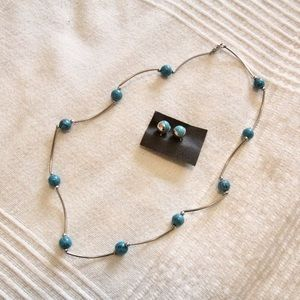 Jewelry - Silver and blue necklace and earring set